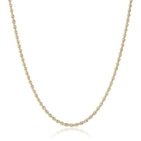 Pori 10K 2mm Diamond-Cut Rope Chain Necklace