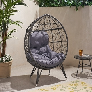 Link to Gianni Outdoor Wicker Teardrop Chair with Cushion by Christopher Knight Home Similar Items in Patio Furniture