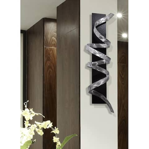 Statements2000 3D Metal Wall Art Accent Sculpture Black Silver Abstract Decor by Jon Allen - Knight