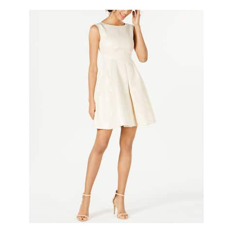 ANNE KLEIN Womens Beige Champagne Dot Sleeveless Jewel Neck Above The Knee Fit + Flare Cocktail Dress Size: 0