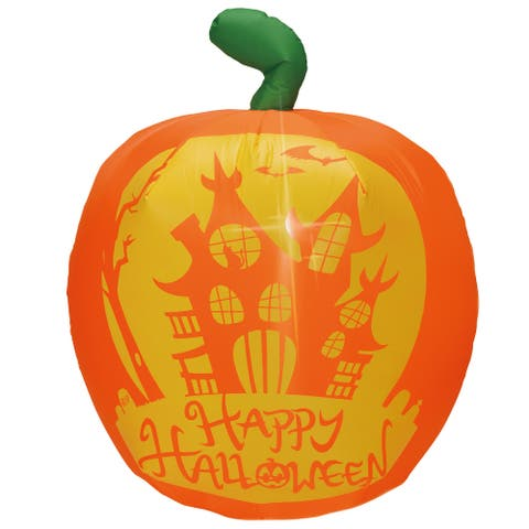 """Joiedomi 4 ft. Tall Orange & Green Plastic Halloween Panoramic Projection Pumpkin Inflatable - 7.7""""W x 3.58""""L x 9.6""""H"""