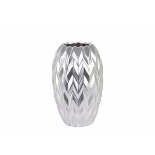 Benzara BM134183 Round Vase Embossed Wave Design & Rounded Bottom - Silver - 6 x 6 x 9.75 in. & Small