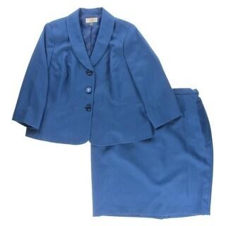 Le Suit Womens Plus Skirt Suit Jaquard Textured