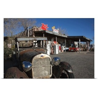 Poster Print entitled Rusty car at old Route 66 visitor centre, Route 66, Hackberry, Arizona