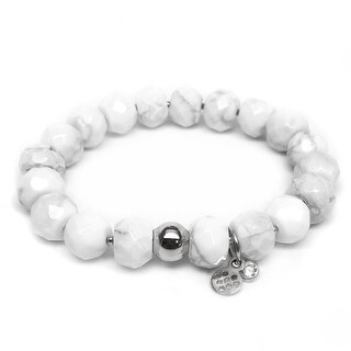 "White Howlite London 7"" Silver Bracelet"