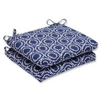 """Set of 2 Blue and White Circle Design Outdoor Patio Chair Cushions 18.5"""""""