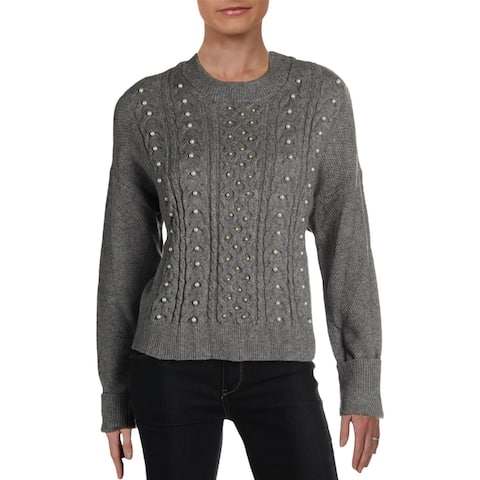 RD Style Womens Pullover Sweater Embellished Ribbed - Grey
