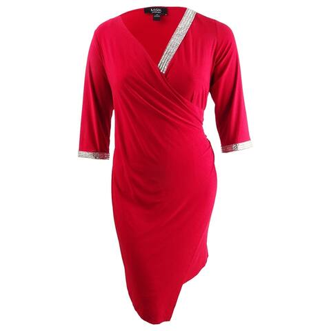 MSK Women's Plus Size Rhinestone Sheath Dress (1X, Red) - Red - 1X