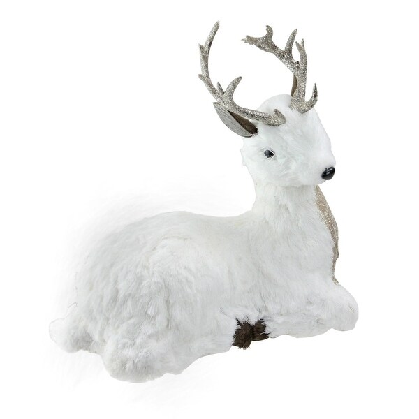 "11"" Gilded White Christmas White and Gold Sitting Deer Table Top Decoration"