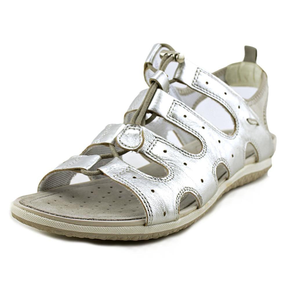 Geox Sandal Vega 3 Women Open Toe Leather Silver Gladiator Sandal
