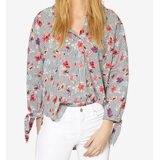 a1348940 Shop Sanctuary Gray Women Size Medium M Floral Striped Button Down Shirt -  On Sale - Free Shipping On Orders Over $45 - Overstock - 26916116 .