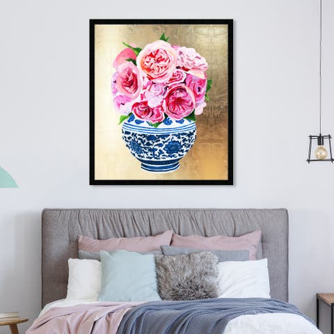 Oliver Gal 'Julianne Taylor - Peonie Vase Gold' World and Countries Wall Art Framed Print Asian Cultures - Gold, Pink