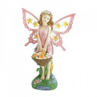 Pink Fairy Solar Garden Statue