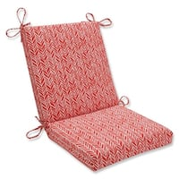 """36.5"""" Simplistic Red and White Outdoor Patio Chair Cushion with Ties"""