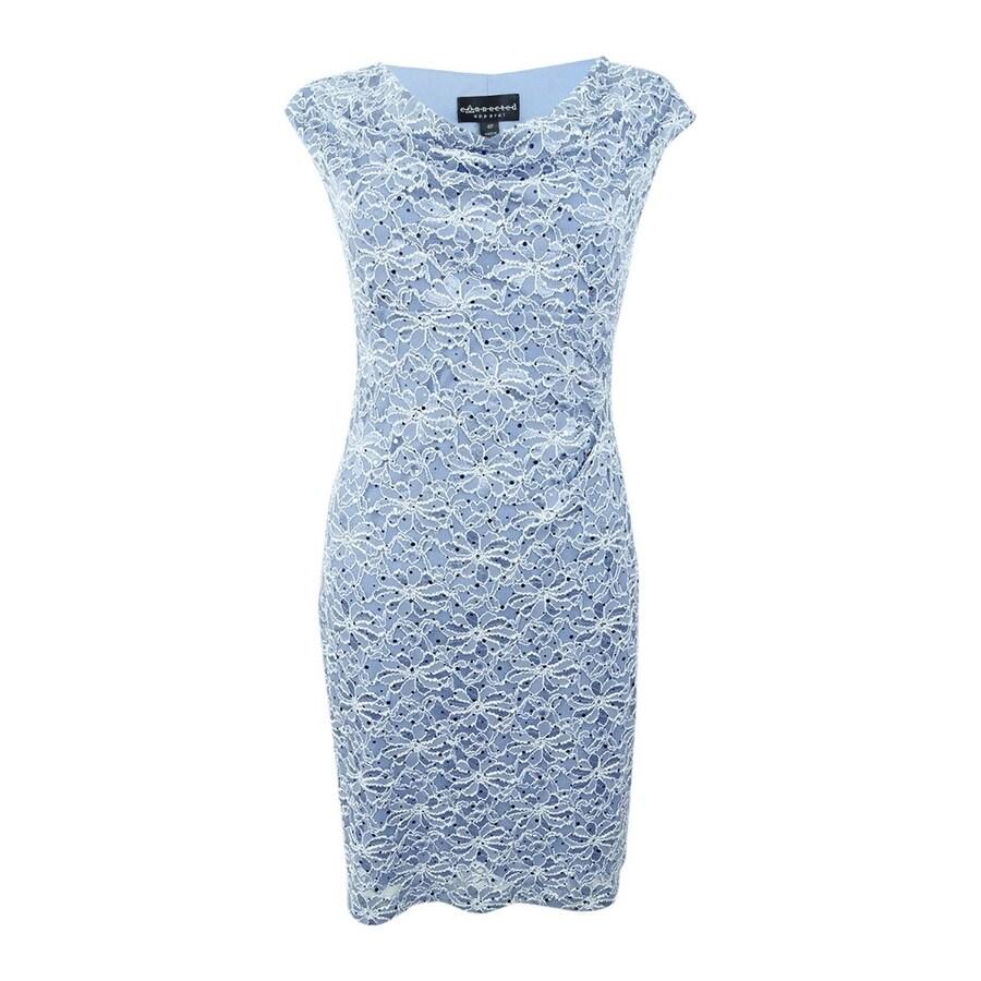 Connected Women/'s Petite Sheath Lace Dress