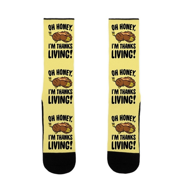 Oh Honey I'm Thanksliving Parody US Size 7-13 Socks by LookHUMAN