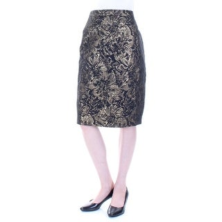 Womens Gold Floral Knee Length Pencil Skirt Size 2