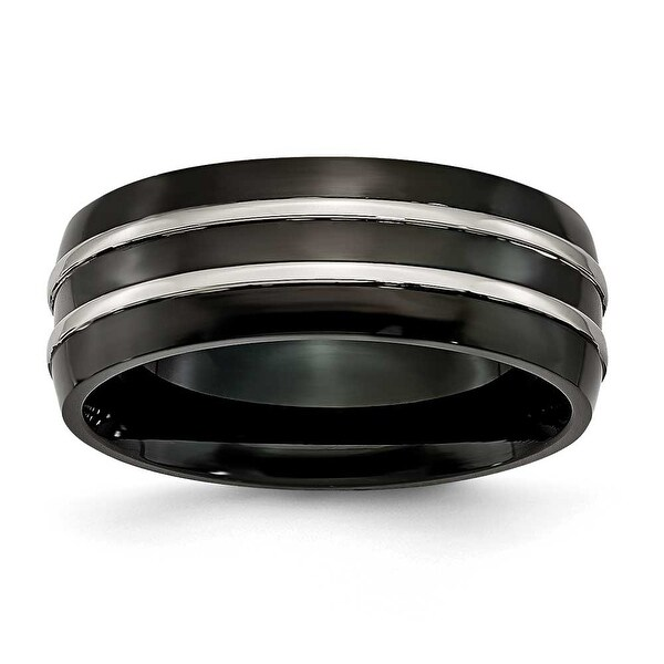 Titanium Grooved 8.00mm Black-plated Brushed & Polished Band