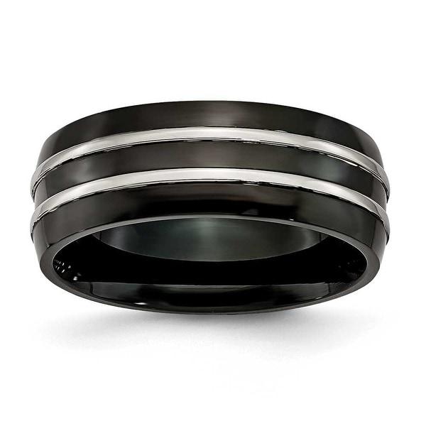 Titanium Grooved 8.00mm Black-plated Brushed & Polished Band