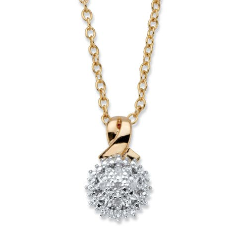 Gold-Plated Diamond Accent Cluster Pendant with 18 inch Chain