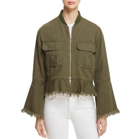 Bagatelle Women's Spring Distressed Bomber Jacket, Olive, XS