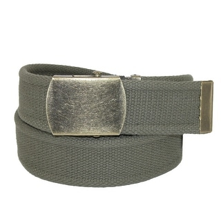 CTM® Cotton Web 1.5 Inch Adjustable Military Buckle Belt - One size