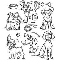 """Crazy Dogs - Tim Holtz Cling Stamps 7""""X8.5"""""""