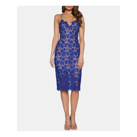 BARDOT Blue Spaghetti Strap Below The Knee Dress 12\XL