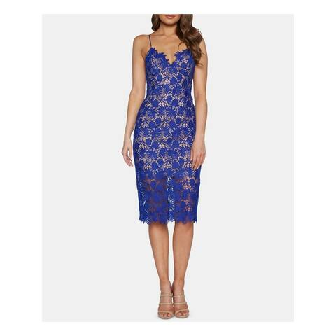 BARDOT Blue Spaghetti Strap Below The Knee Sheath Dress Size XS