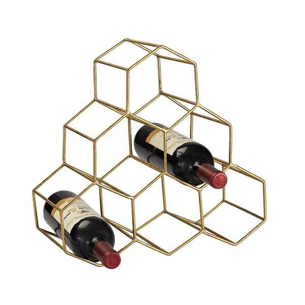 Sterling Industries 51-026 Angular Study Hexagonal Wine Rack - Gold