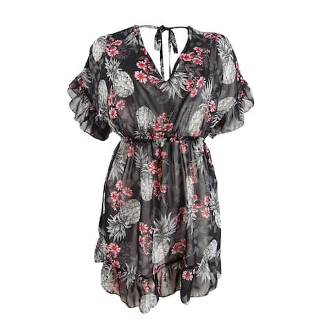 Miken Women's Plus Size Ruffled Floral-Print Dress Swim Cover-Up - Black/Poppy Red