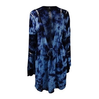 Raviya Women's Tie-Dyed Crochet-Inset Long Sleeve Cover-Up