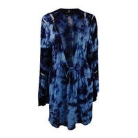 Raviya Women's Tie-Dyed Crochet-Inset Long Sleeve Cover-Up - navy