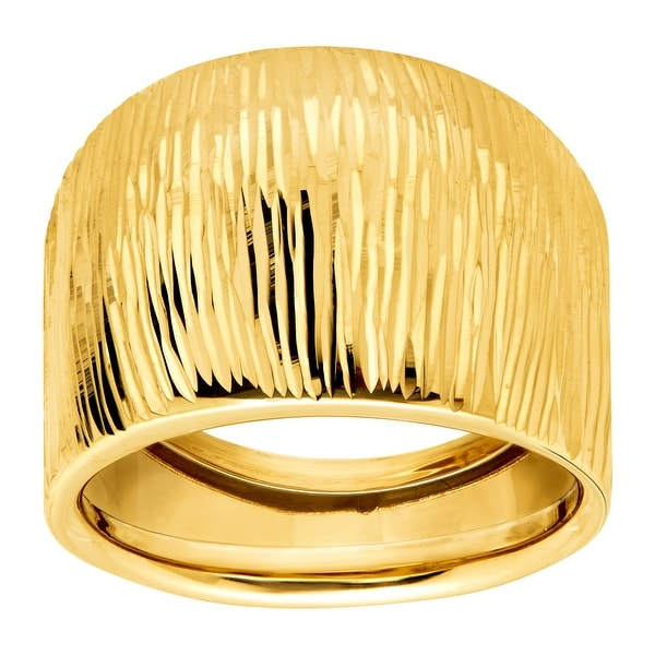 Eternity Gold Ribbed Wide Dome Ring in 14K Gold