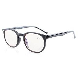 Eyekepper Vintage Amber Tinted Computer Reading Glasses Anti reflective/glare,UV Protection Men/Women Black +0.75