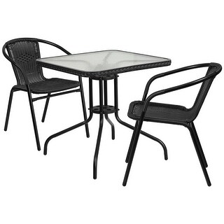 Skovde 3pcs Square 28'' Glass Metal Table w/2 Black Rattan Stack Chairs