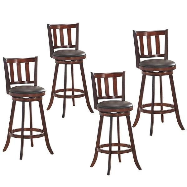 shop costway set of 4 31'' swivel bar stool leather padded