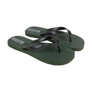 Calvin Klein Amsterdam Mens Green Synthetic Flip Flops Slip On Sandals Shoes