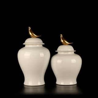 G Home Collection Luxury White Solid Color Accent Porcelain Jar With Copper Bird Lid