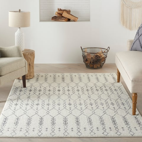 Nourison Passion Geometric Ivory Grey Area Rug