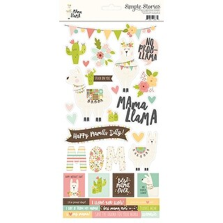 "Simple Sets Mama Llama Cardstock Stickers 6""X12""-"