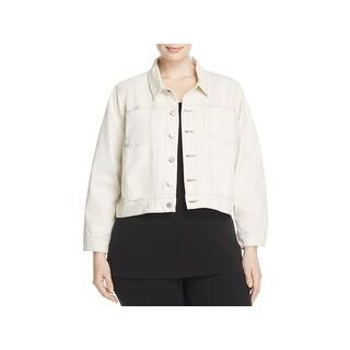 Eileen Fisher Womens Plus Jean Jacket Cropped Contrast Stitching