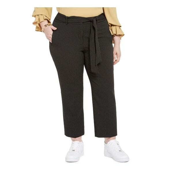 BAR III Womens Black Belted Striped Straight leg Pants Size 22W. Opens flyout.