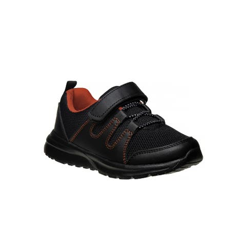 Avalanche Black Red Hook And Loop Breathable Pull On Sneakers Boys