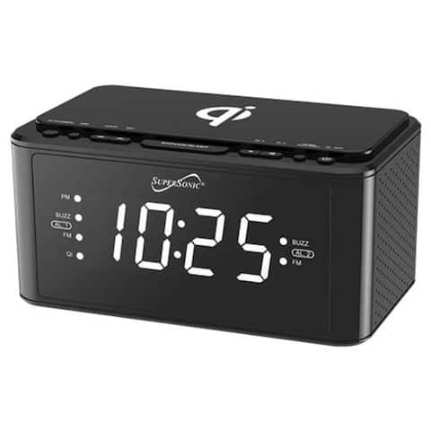 Clock Radio With Qi Wireless Charging Black