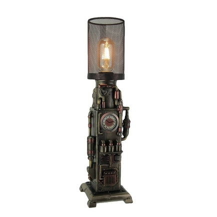 Steampunk Industrial Piping Tower Beacon Clock Mesh Table Lamp