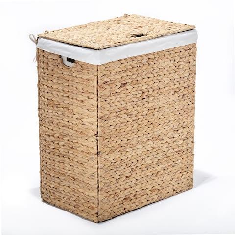 Seville Classics Lidded Foldable Water Hyacinth Portable Rectangular Laundry Hamper Basket with Washable Liner