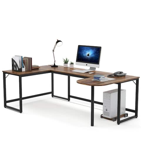 U Shaped Computer Desk Writing Table with Printer Stand