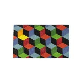 "Decorative Multi-Color Cube Coir Outdoor Rectangular Door Mat 29.5"" x 18"""