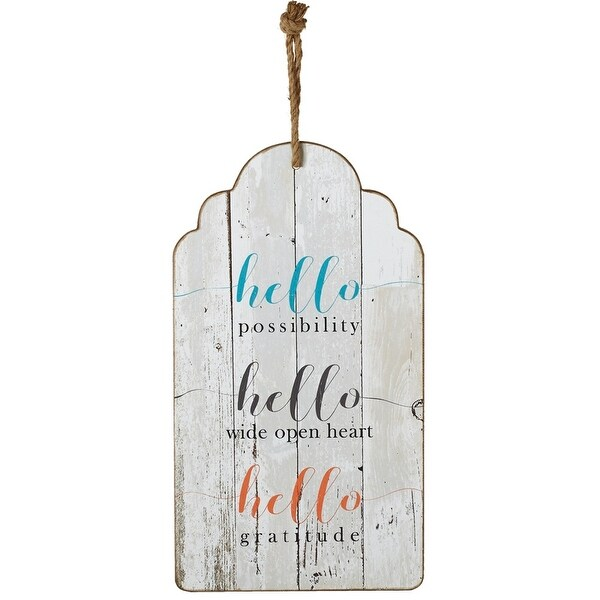 """Pack of 2 Multicolored Inspirational Quoted Rectangular Tag Wall Decor with Rope 18"""" - N/A"""